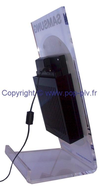 présentoir dynamique : arrière du chevalet de comptoir avec ecran lcd 7 pouces