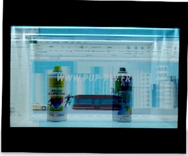 Caisson publicitaire avec écran Lcd transparent de 22 pouces. Des objets peuvent êtres exposés derrière l'écran Lcd.