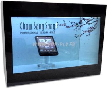 Caisson avec écran Lcd transparent de 32 pouces et présentoir à l'intérieur.
