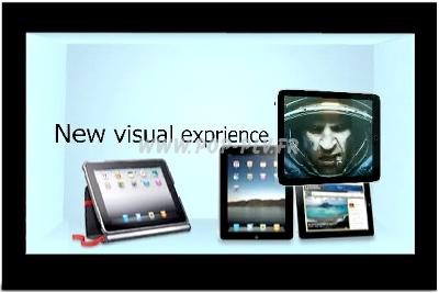 Caisson d'exposition avec écran Lcd transparent de 32 pouces.