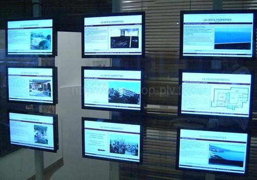 écran plat - kit d''écrans lcd vidéo player superposés par trois pour agence immobilier
