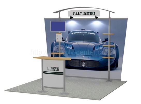 stand exposition multimédia avec lecteur LCD vidéo player