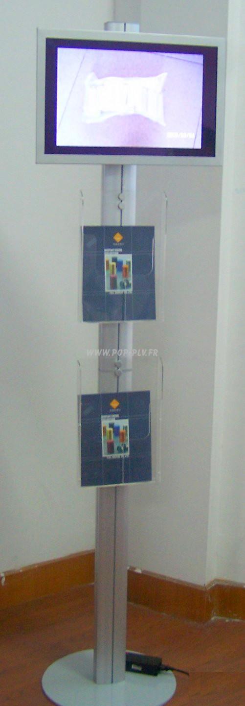 écran - moniteur vidéo sur colonne équipée de deux portes-documents