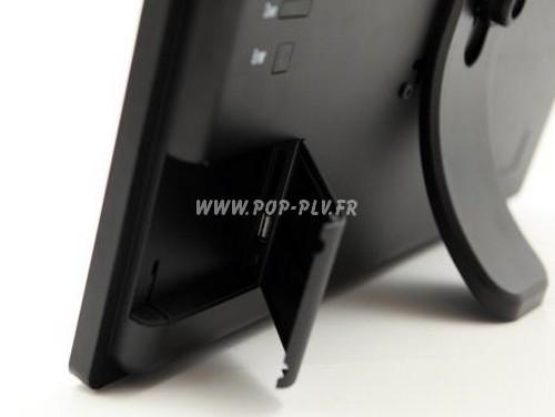 """display -écran gamme """"Primo-One"""" au format 18,5 pouces vu de dos - pied de comptoir et port usb"""