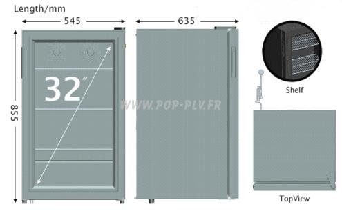 vitrine réfrigérée - plans de l'appareil