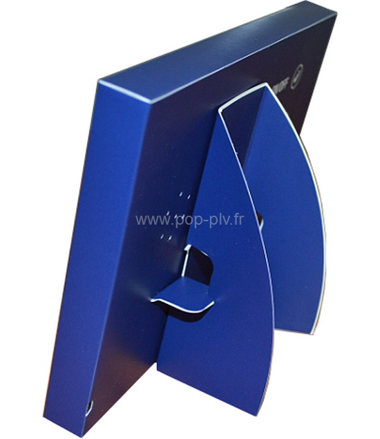 affichage dynamique - écran Lcd jetable vue du dos en carton avec l'équerre de support