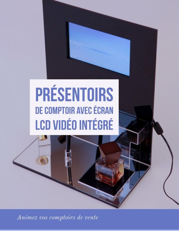 plv de comptoir - présentoir de comptoir avec écran Lcd intégré