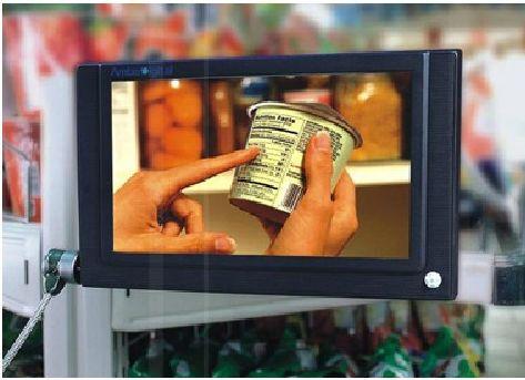 """affichage publicitaire - écran gamme """"Supermarket"""" fixé sur un linéaire de GMS"""