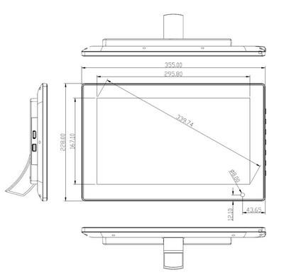 android - Tablette Android de 13,3 pouces schéma vue de face