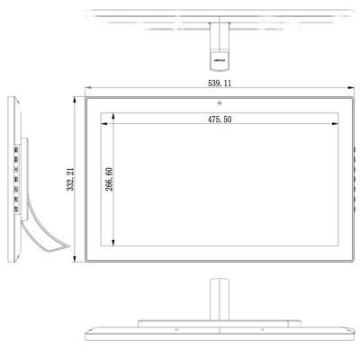 tablette Android 22 pouces plan du dos et du support