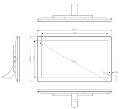 tablette tactile - tablette Android 18,5 pouces schéma vue de face avec supports