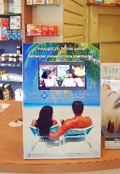 commerces - chevalet de comptoir avec écran Lcd inséré dans une boutique